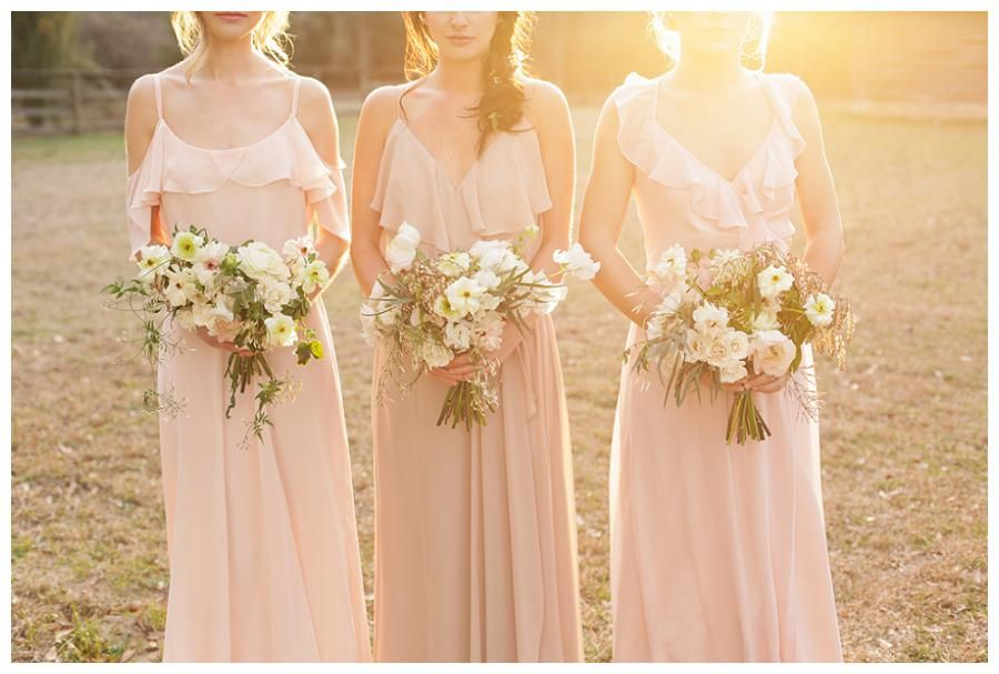 Blush Bridesmaid Dresses With Pretty Spring Bouquets