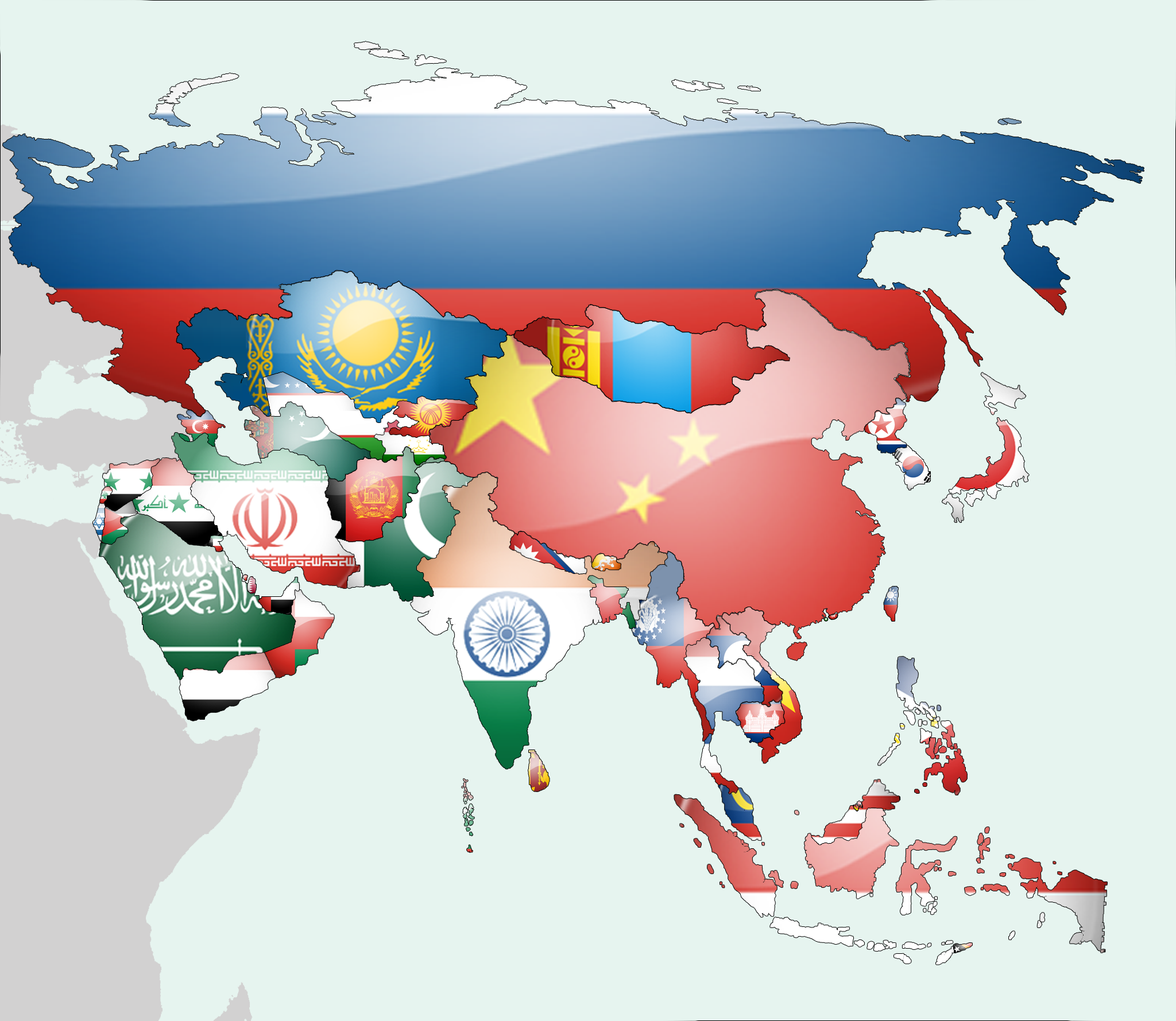 Map Of Asia Png.Asia Flag Map Mapas Asia Map Map Asia