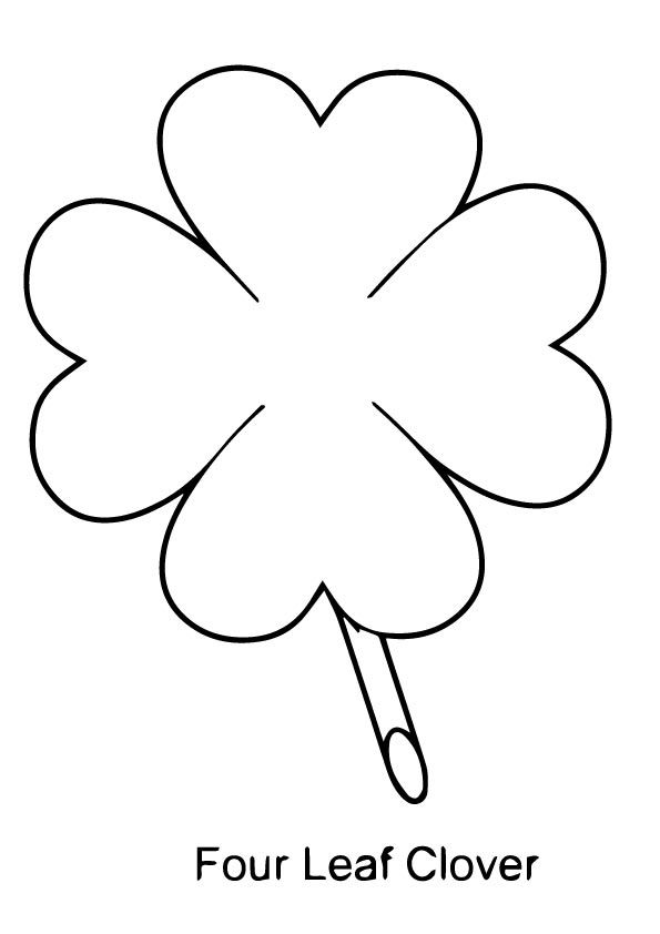 Four Leaf Clover Coloring Page Outline Jpg 595 842 Pixels Leaf