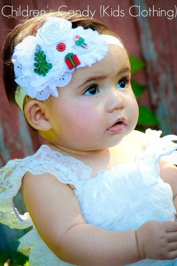 Christmas Headband For Baby Girl.White Baby Headbands Baby Girl Christmas Headband