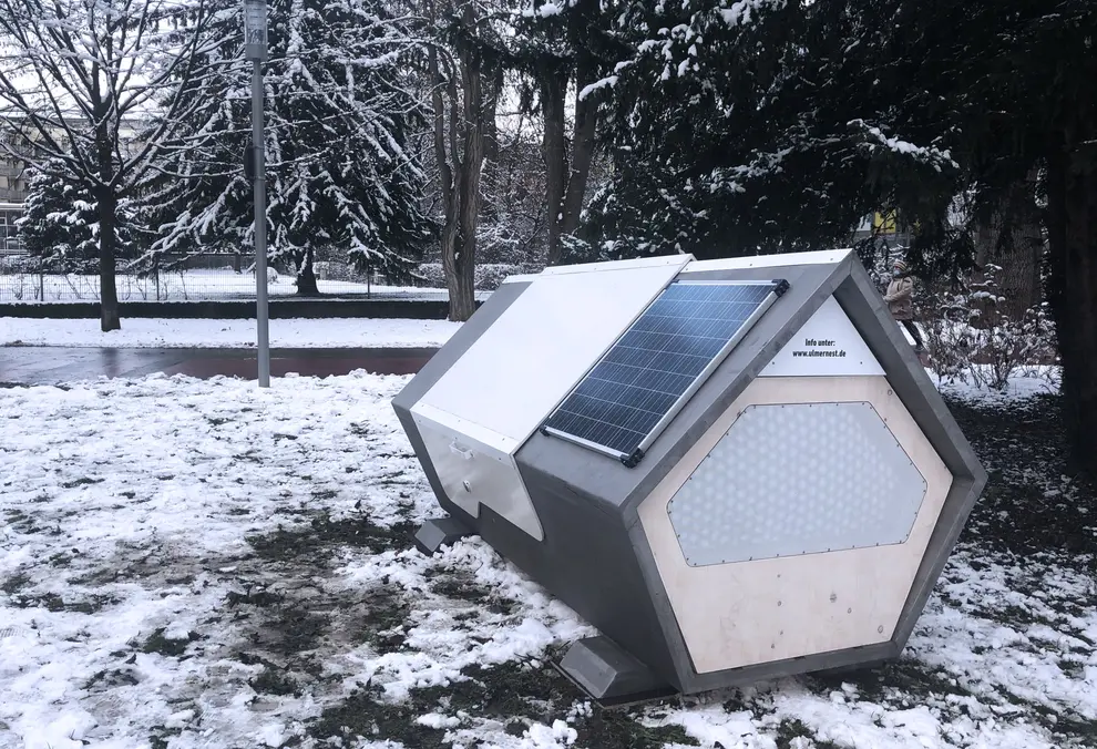 Futuristic Sleeping Pods For Homeless People Installed In German City In 2021 Sleeping Pods Emergency Shelter Solar