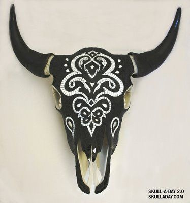 Black And White Decorated Cow Skull