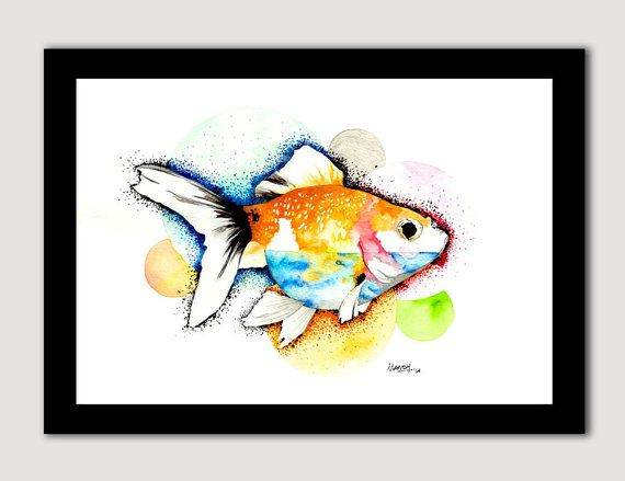 Watercolour Print. Fish. Home Decor. Comes in 3 sizes to suit your print fix