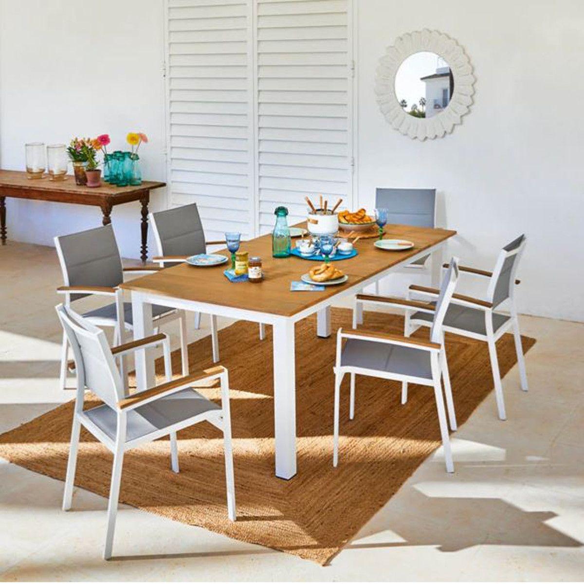 Set tavolo e sedie San Diego in alluminio bianco 6 posti