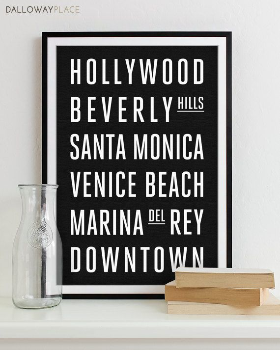 Los Angeles Wall Art los angeles subway sign wall art typography poster - modern art