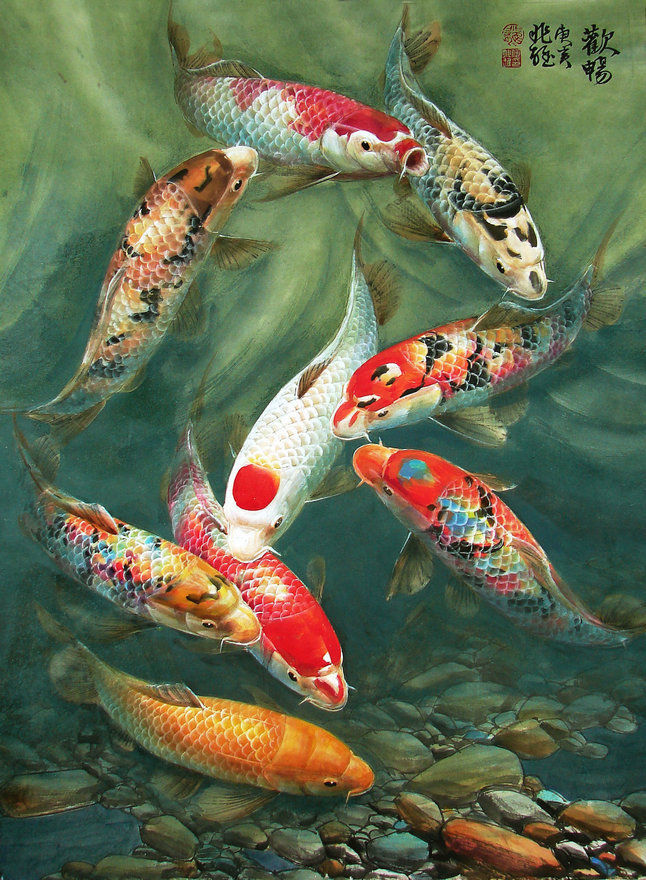 Wall Art Feng Shui Koi Fish Painting Picture Printed on canvas Gifts Home Decor