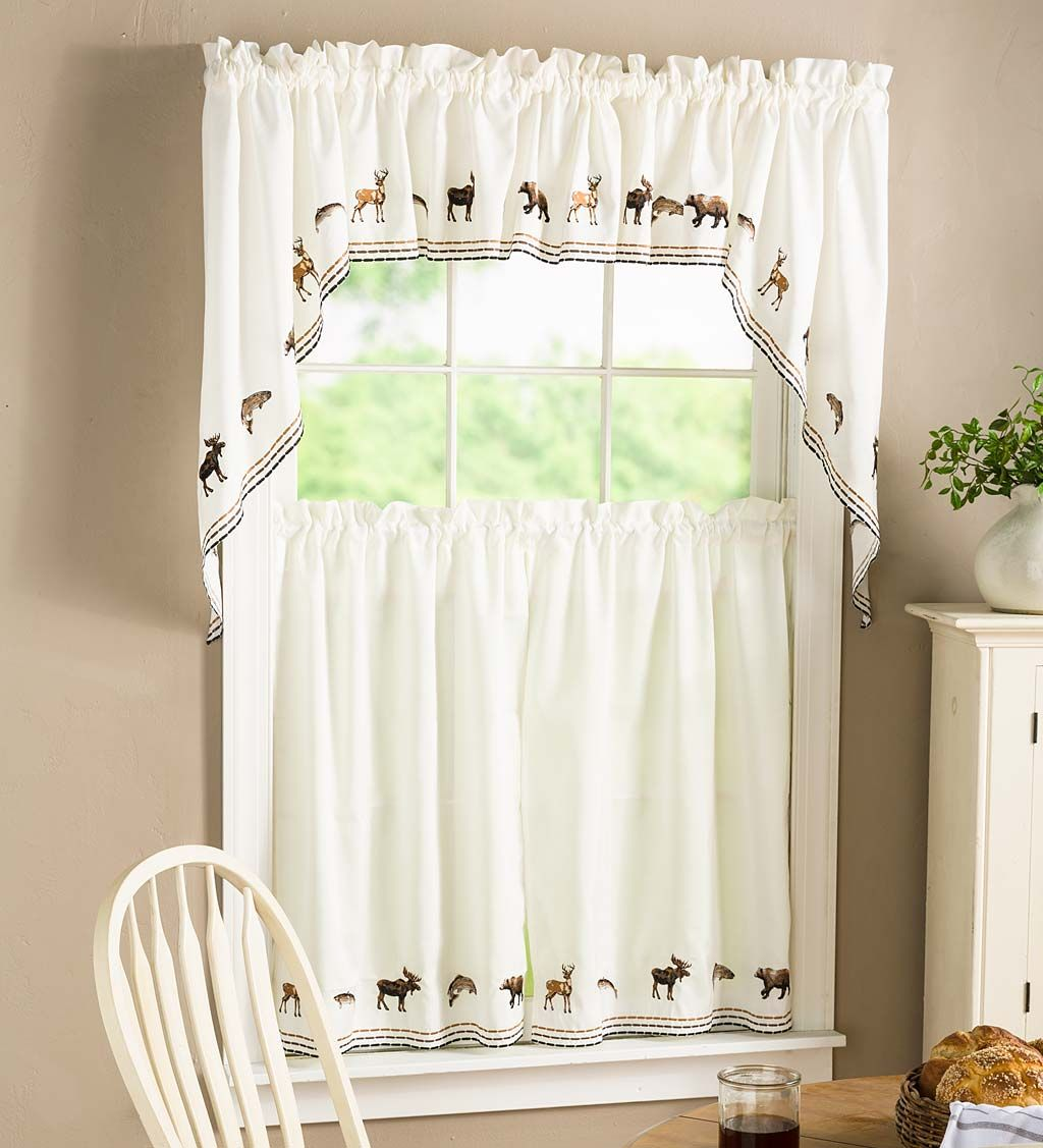 Refresh any room with our charming lodge embroidered cafe curtains