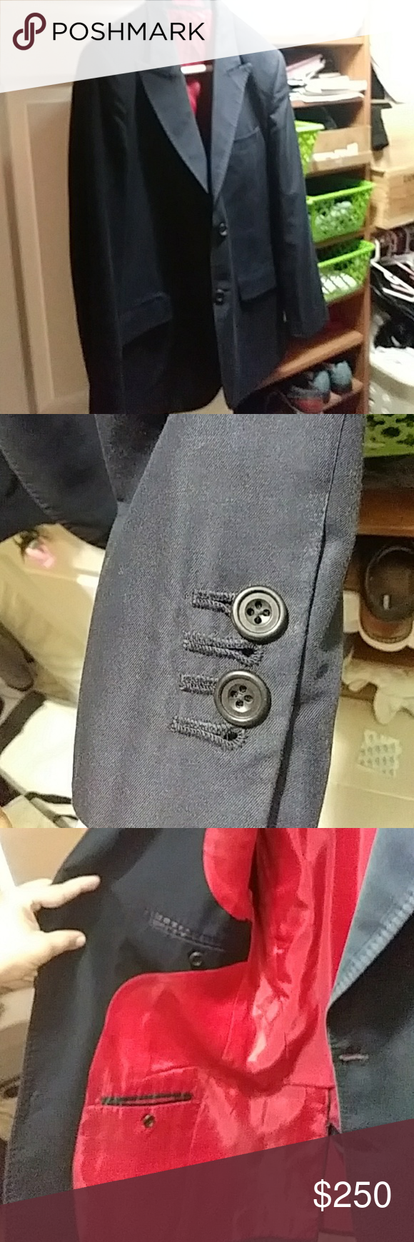 Blue Italian style suit with pants made in abudhab Size medium jacket with size 34 pants freddy of Abu Dhabi Suits & Blazers Suits