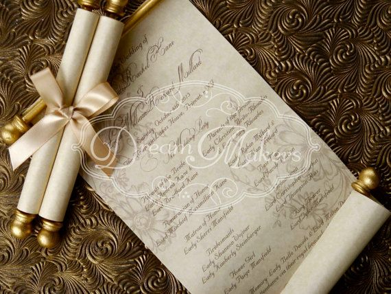 scroll wedding programs by dreammakersinvites on etsy 190 00