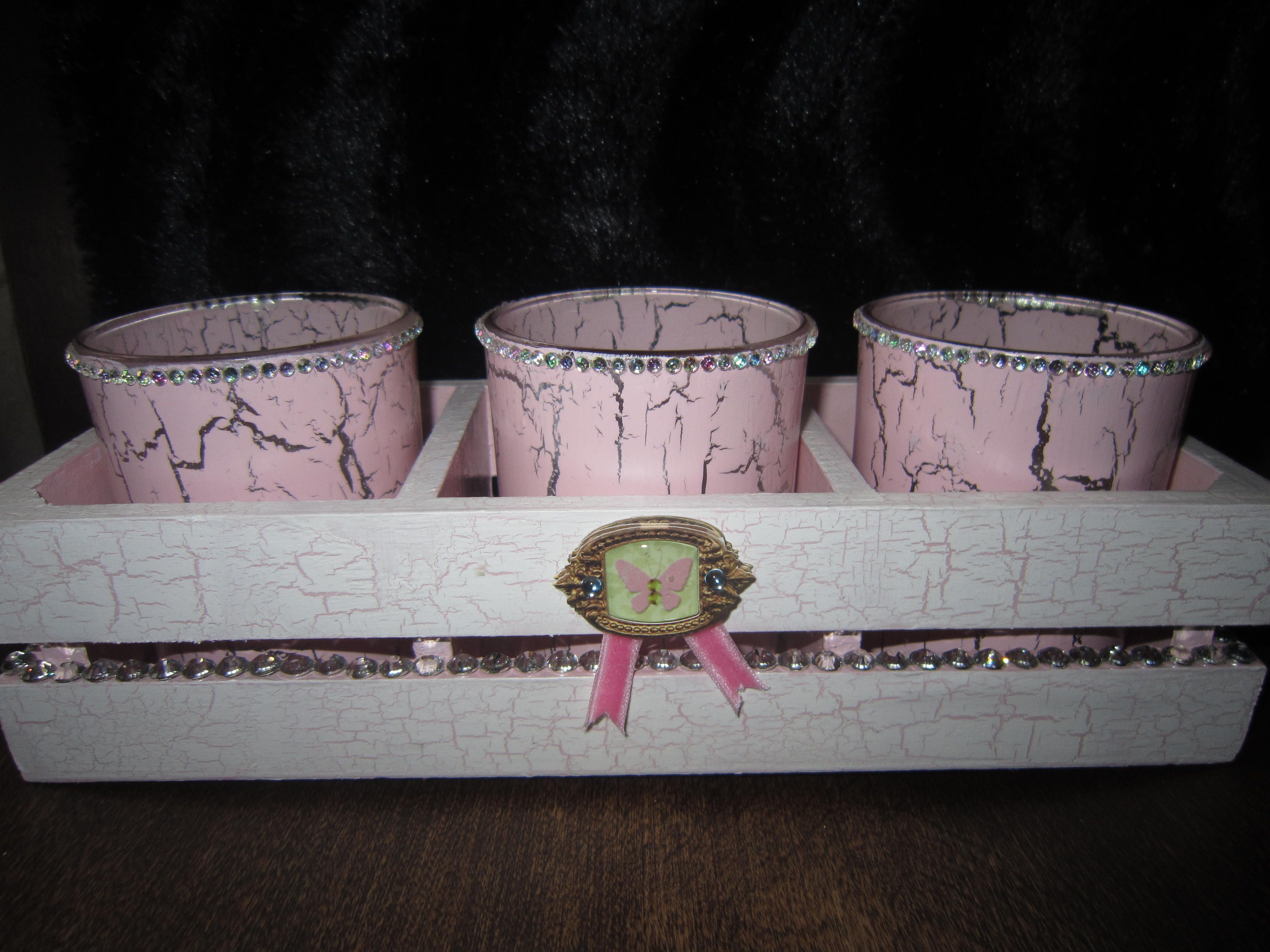Candle holder.Hand painted .Beautiful and very feminine.For sale at Made by Hand Craft Show October 19th in Toronto.
