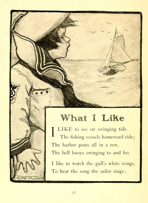 """From """"Little rhymes for little readers"""" by Wilhelmina Seegmiller; illustrated by Ruth Mary Hallock. Published 1910 by Rand, McNally in Chicago"""