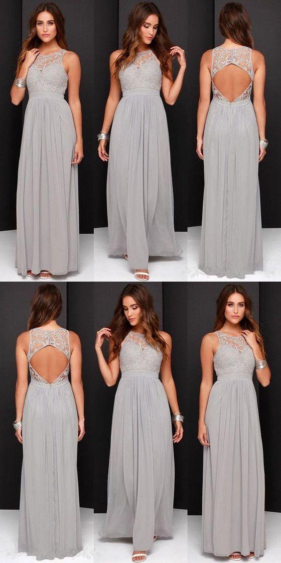 Round Neck Openback Grey Chiffon Lace Bridesmaid Dress, BD0539 popular bridesmaid bridesmaiddressesdresses longbridesmaiddresses cheapbridesmaiddresses is part of Backless bridesmaid dress -