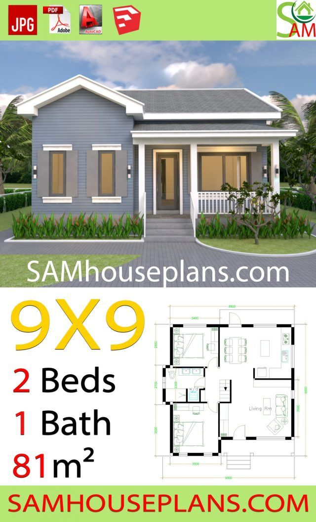 House Plans 9x9 With 2 Bedrooms Gable Roof Sam House Plans Diy House Plans Gable Roof House Affordable House Plans