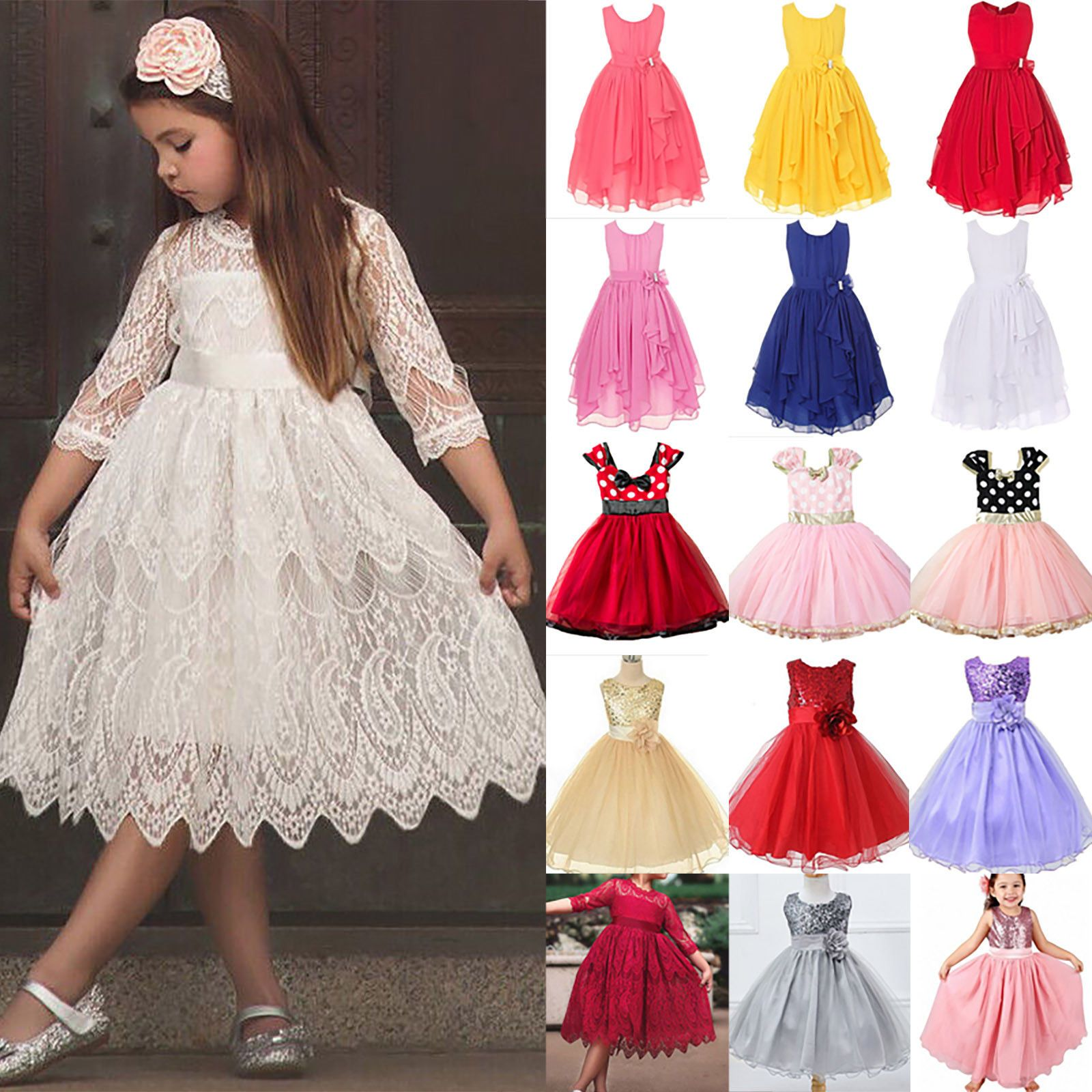 Girl Formal Tutu Dresses Clothes Flower Princess Dress Kid Party Wedding Pageant