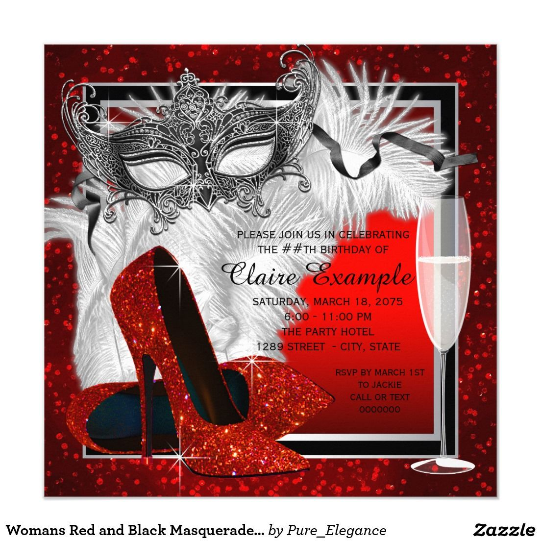 Womans Red and Black Masquerade Birthday Party Invitation ...