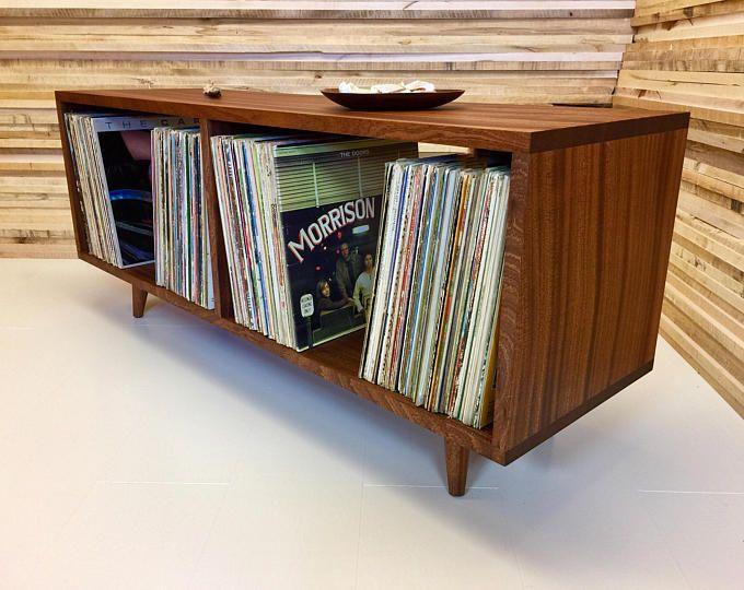 Low Boy Mid Century Modern Lp Album Storage Cabinet Featuring