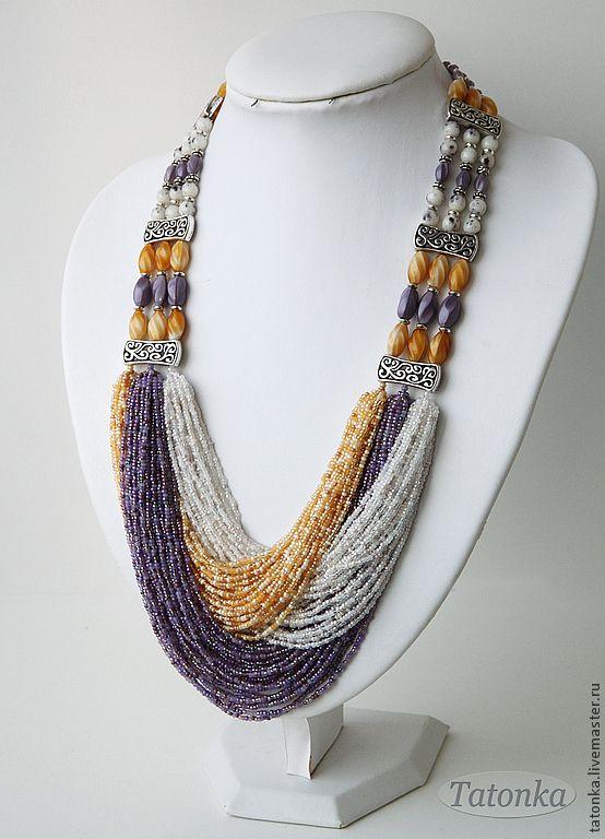 """Lavender Morning"" beaded strands, massive necklace, metal furniture, Tatonka, Tatiana"