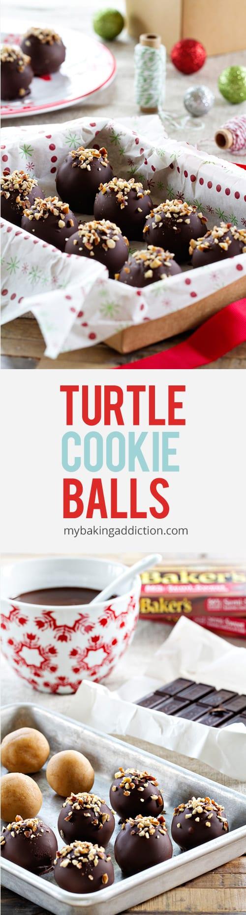 Turtle Cookie Balls | My Baking Addiction #truffesauchocolat