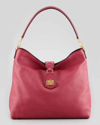 0af1cb55583f Clasp-Top Leather Hobo Bag, Red by Fendi at Bergdorf Goodman ...