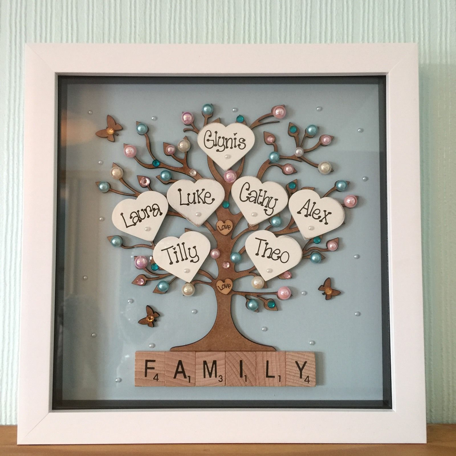Personalised Family tree Box Frame Scrabble Gift Mothers Day Wedding ...