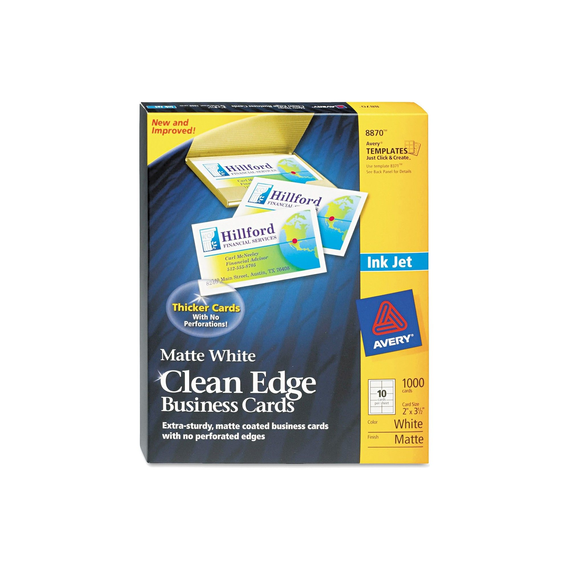 Avery Two Side Printable Clean Edge Business Cards, Inkjet, 2 X