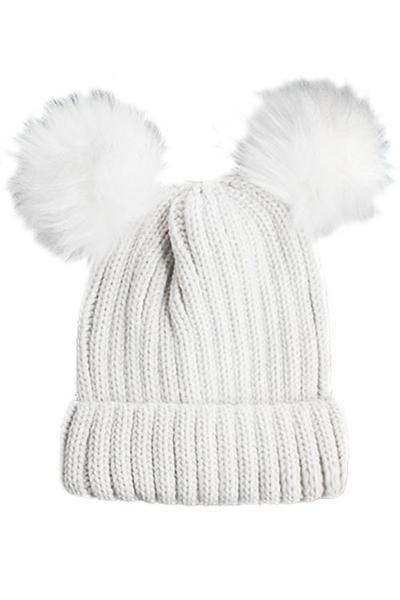 Double Fur Pom Pom Knit Beanie Hat - White - Dempsey   Gazelle ... 01a64f097e3