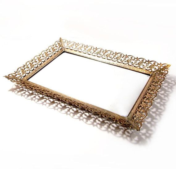 Vintage Mirror Tray / Rectangle Brass Metal Vanity Mirror Tray - Vintage Mirror Tray / Rectangle Brass Metal Vanity Mirror Tray