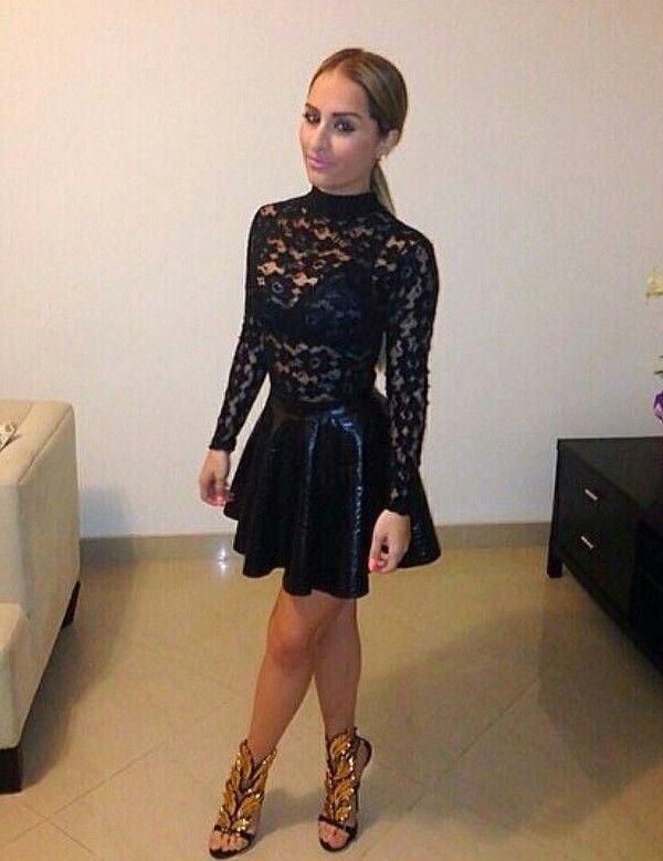 18aead3442d Resultado de imagem para leather skirt lace top | Leather and Lace ...