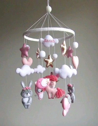 Photo of Personalized baby girl mobile with animals