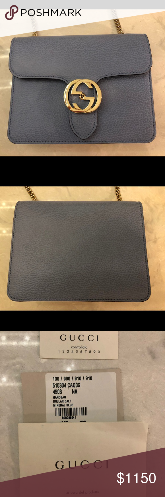 8de5fc1913b Gucci interlocking GG Bag. New with tags Brand new mineral blue Gucci  Interlocking GG bag. Smoke free home. Authentic. This is Not the wallet on a  chain.