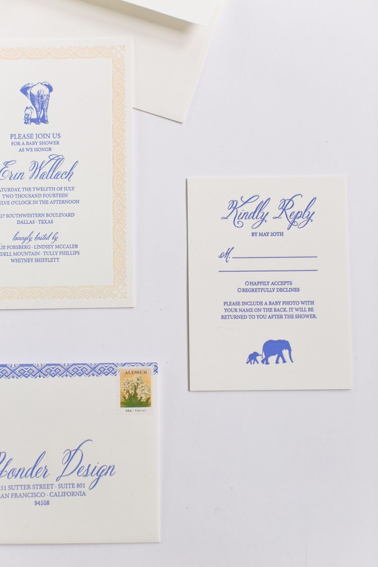 luxury wedding invitations dallas%0A Yonder Design   Baby Elephant  Event Design  Baby Shower  Wedding  Inspiration  Blue