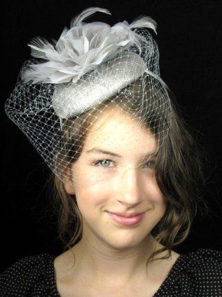 Pretty Cool - Silver Pill Box Hat Hairband Fascinator with Flower    Birdcage Veil  Amazon.co.uk  Clothing 270ac50c161