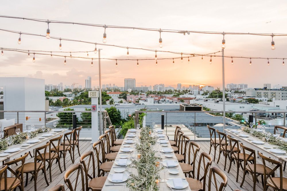 Wedding Reception With A Sunset View Overlooking The Miami