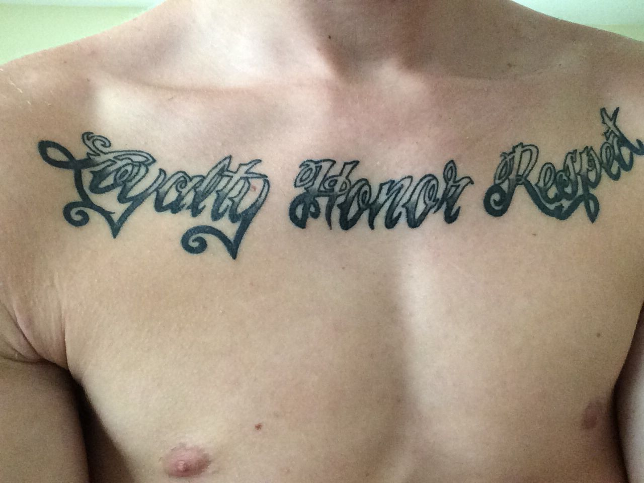 Tattoo Men Chest Loyalty Honor Respect Font Respect Tattoo Tattoos For Guys Tattoos