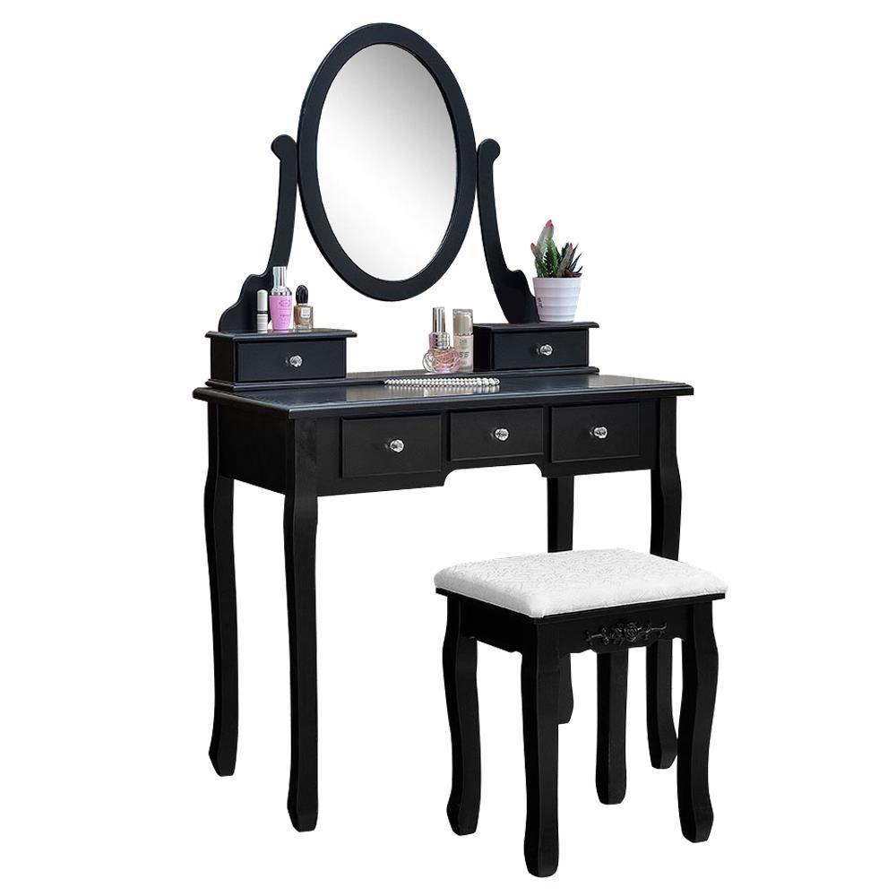 Ktaxon Vanity Makeup Dressing Table Set W Stool 5 Drawers Mirror Jewelry Desk Black Black In 2020 Oval Mirror Bedroom Makeup Dressing Table Dressing Table Jewellery