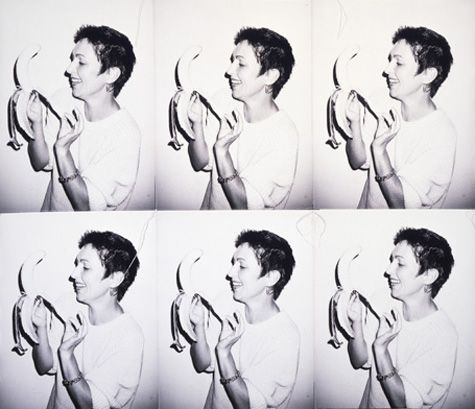 Andy Warhol (American, 1928-1987)       Pat Hackett with Banana, 1986       gelatin silver prints sewn with thread       27 3/8 x 31 3/4 in. (69.5 x 80.6 cm.)      The Andy Warhol Museum, Pittsburgh; Founding Collection, Contribution The Andy Warhol Foundation for the Visual Arts, Inc.      © The Andy Warhol Foundation for the Visual Arts, Inc.     1998.1.2692