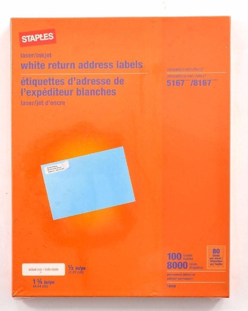 office lot of 8000 staples white return address labels laser inkjet