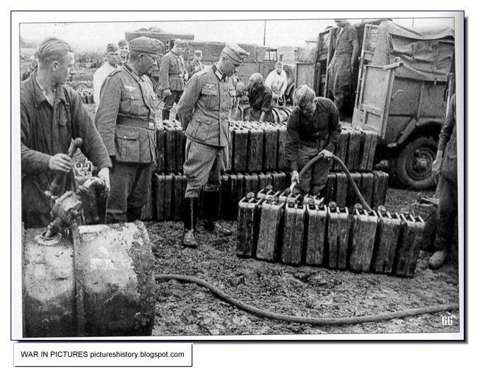 Gas for the German tanks. Army Group South.  A tank could take up to 10 cans, which significantly increased its cruising range. July 1941.