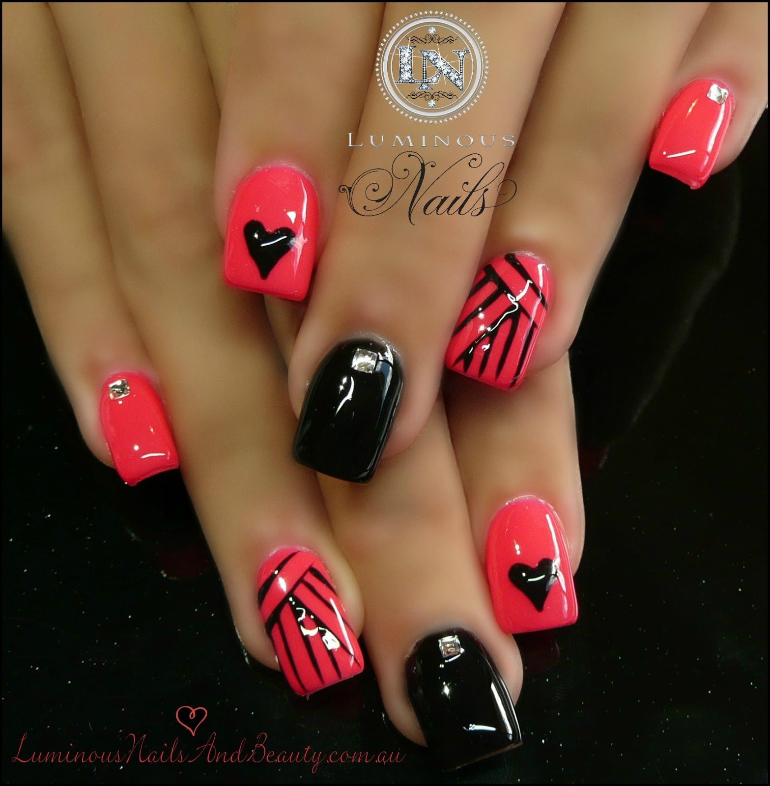 Coral Pink & Black Gel Nails with Hearts & Stripes. Sculptured Acrylic with  Mani Q Black Coral Pink Artistic Gel - Owned, Black hearts & Stripes with  Black ...