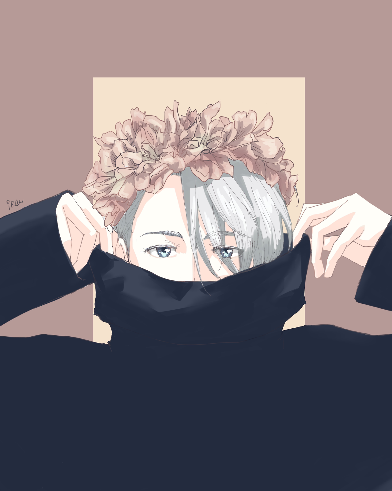 "iruutciv ""Turtlenecks+flower crowns "" Anime flower"