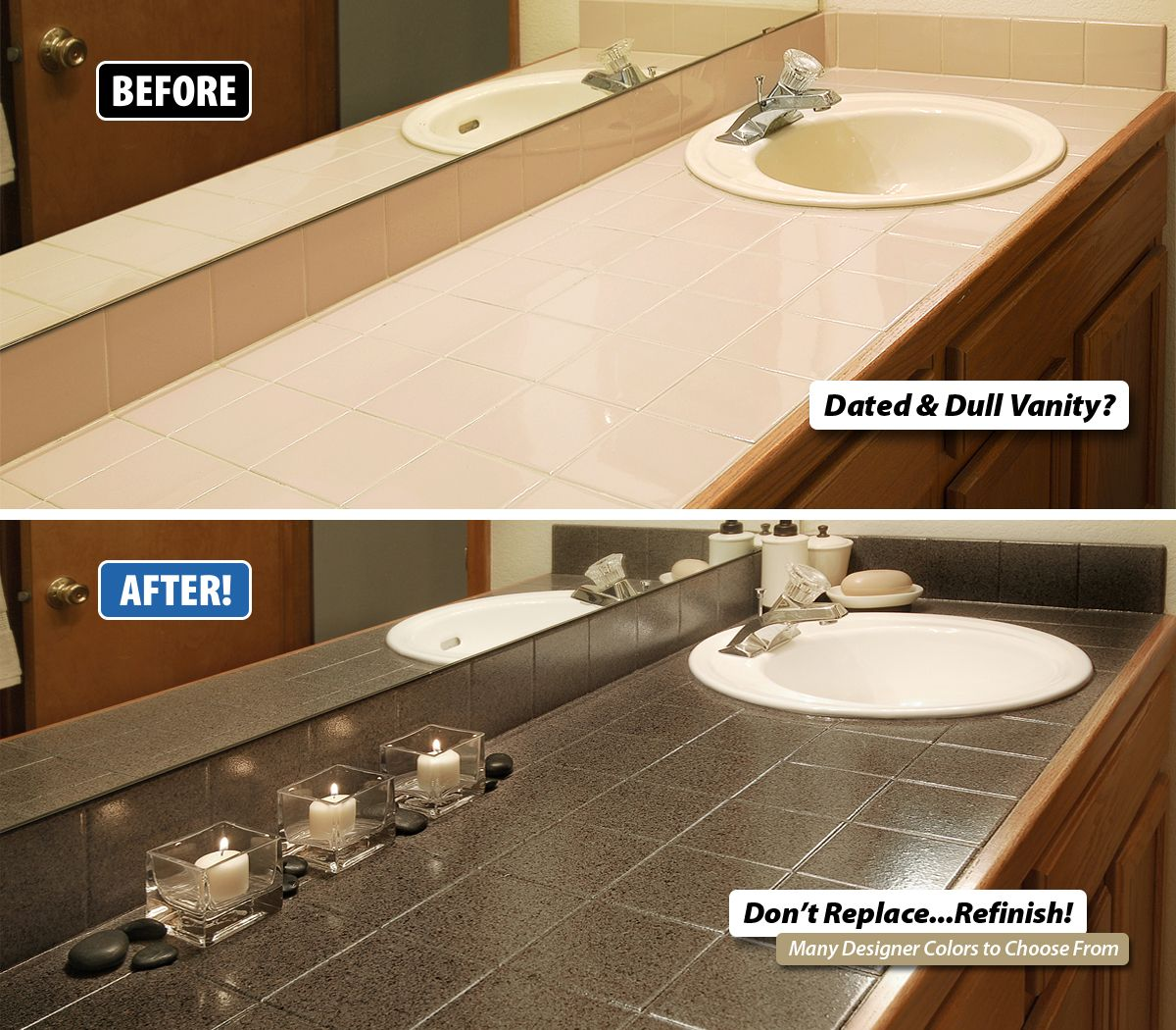 Do You Have A Dated And Dull Vanity Whether It S Tile Corian Laminate Or Tile Miracl Small Bathroom Tiles Small Bathroom Floor Plans Full Bathroom Remodel
