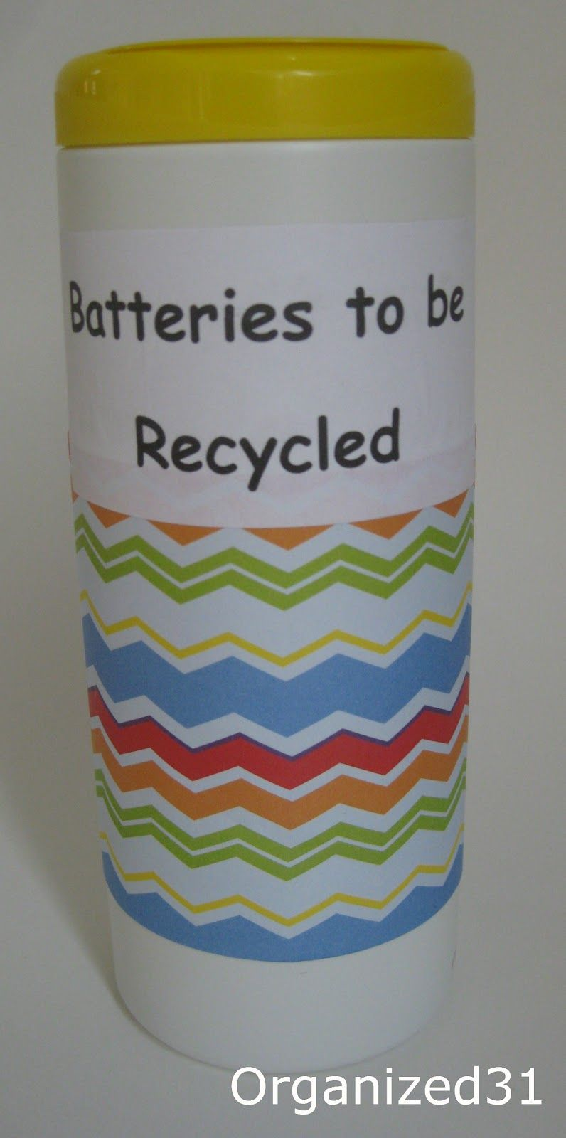 Clorox Wipe Bottle repurposed to Store Batteries to Be