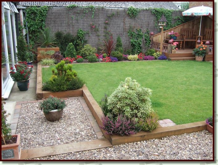 Garden design using timber sleepers | Backyard landscaping ...