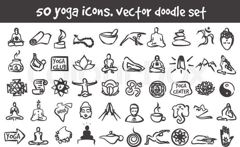 Vector Doodle Yoga Icons Set Stock Cartoon Signs For Design Stock Vector Colourbox On Colourbox Dessin Calligraphie