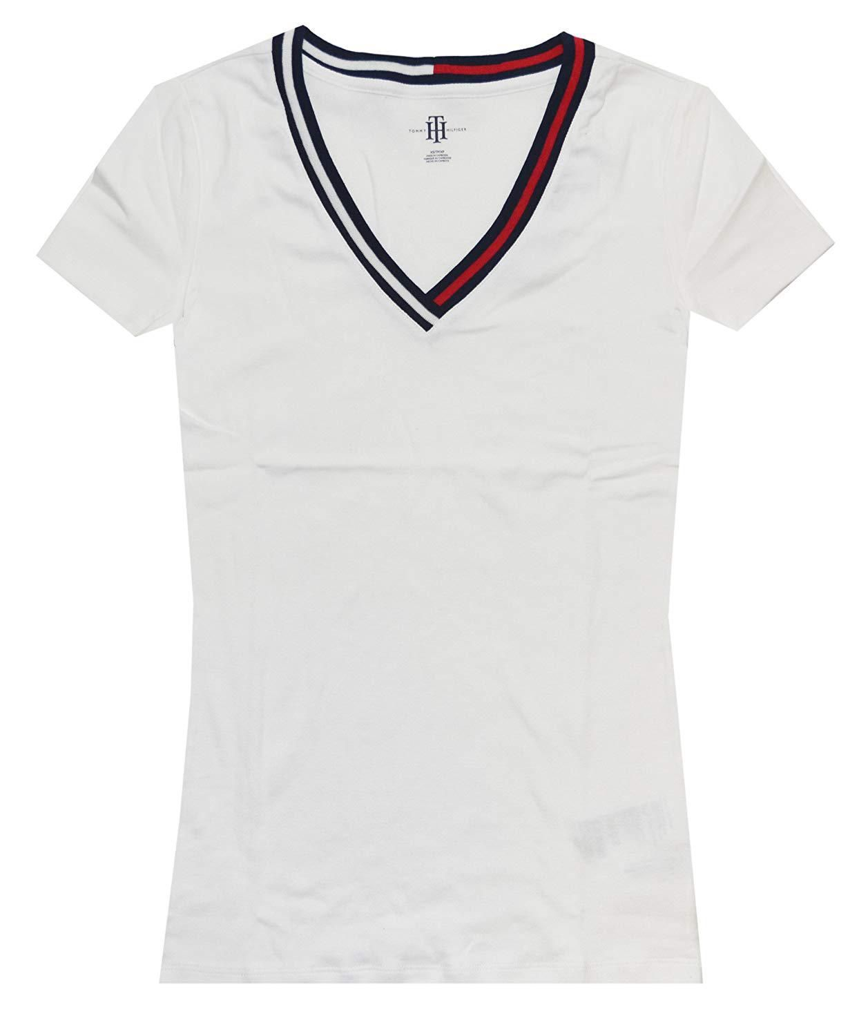 2229ed507 Tommy Hilfiger Women Signature Short Sleeve VNeck Logo Tee at Amazon Womens  Clothing store, Amazon Affiliate link. Click image for detail, #Amazon  #tommy ...