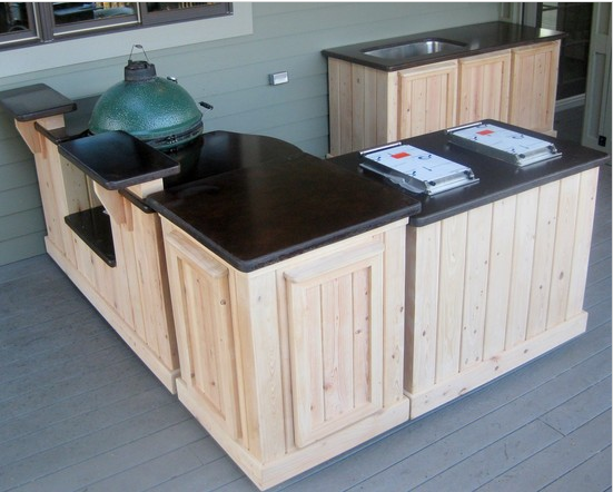 Outdoor Kitchen On Wheels For The Big Green Egg Www Poshpatios Com Outdoor Kitchen Design Outdoor Kitchen Design Layout Kitchen Design Plans