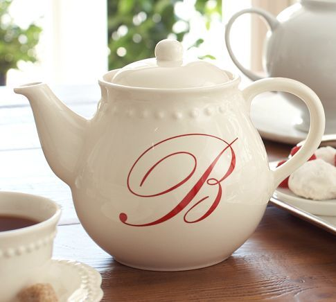 Emma Monogrammed Teapot from Pottery Barn