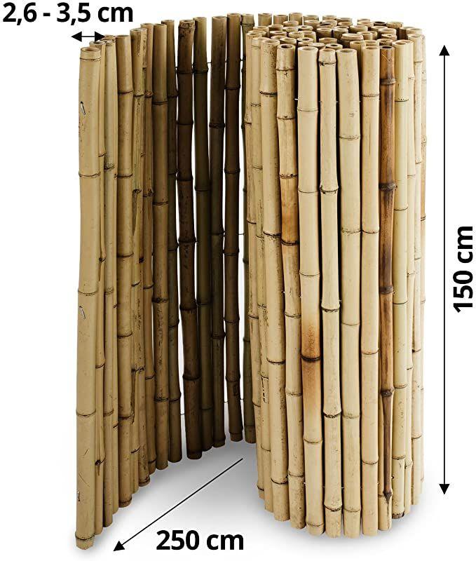 casa pura Bambus Sichtschutz   Bambusmatte in Premiumqualität, Massive Bambusrohre   naturbelassen   DREI Größen (150x250cm, HxB)