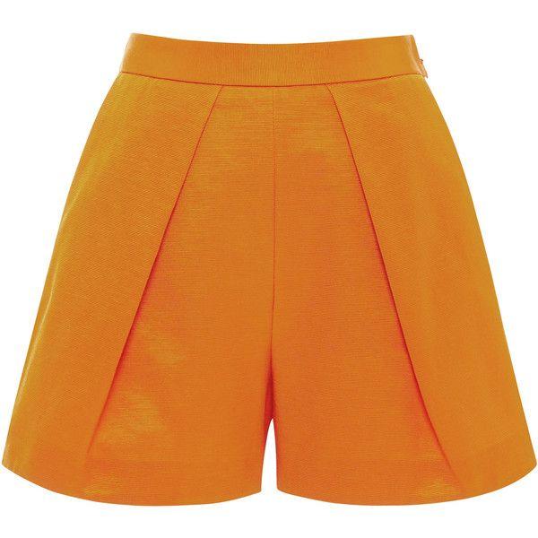 MSGM Pleat-Front Mini Shorts ($160) ❤ liked on Polyvore featuring shorts, orange, cotton shorts, orange shorts, hot shorts, orange short shorts and hot pants