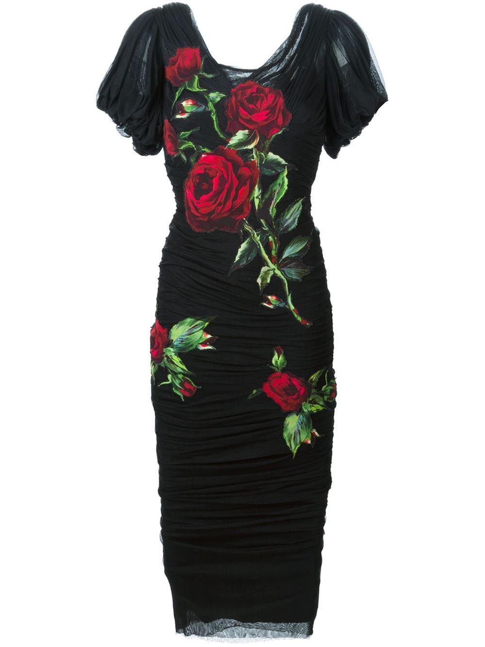 146f19d0 Dolce & Gabbana Kleid Mit Rosen-print - Profile - Farfetch.com ...